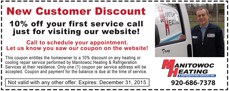 New Customer Discount from Manitowoc Heating